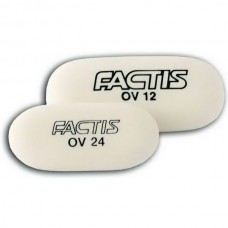 Ластик FACTIS OV24 овальный белый мягкий малый 49*24*9мм синтетический каучук