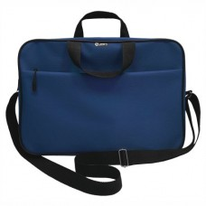 Папка-портфель А4+ ткань цвет синий (на молнии с ручками, карман, ремень) Lamark DC0032-BL