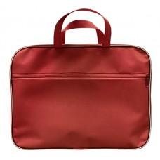 Папка с ручками А4 ткань цвет красный (1 отд., карман снаружи, на молнии) Lamark DC0019-RD
