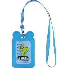 Бейдж на ленте детский 54*85мм вертикальный Синий с ушками Kite K21-296-02