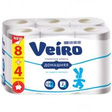 Бумага туалетная 2-хслойная (набор 12 штук*15м) Вейро Домашняя белая 1С212 (лист 92*125мм)