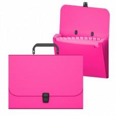 Портфель пластик А4 12отделений на кнопке цвет неон розовый ErichKrause 50461