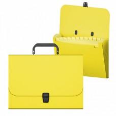 Портфель пластик А4 12отделений на кнопке цвет неон желтый ErichKrause 50463