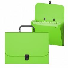 Портфель пластик А4 12отделений на кнопке цвет неон зеленый ErichKrause 50464