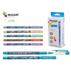 Ручка шар. Mazari 5723 синяя 0,7мм игольчатая масляная SHADOW Smart Ink корпус с цветным узор M-5723
