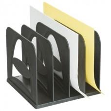 Лоток верт. 4 отделения - СОРТЕР черный СО02 Стамм (для журналов и бумаг)