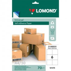 Бумага самокл. А4  50л (6 этикеток 105*99мм на листе) белая 70гр Lomond 2100035
