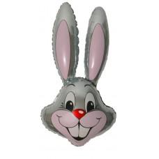 """Шар возд. фольга Кролик 14"""" (35см) серый Flexmetal 1206-0088"""