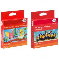 Мел цветной для асфальта  5 цветов Гамма МУЛЬТИКИ карт.коробка 2304191 новинка