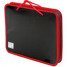 Папка с ручками А4 на молнии пластиковая черная с красным Brauberg 225164
