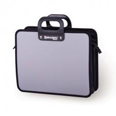 Портфель с пластиковыми ручками А4 на молнии серый Премьер Brauberg 223083