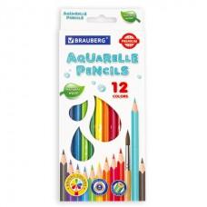 Карандаши цветные акварель 12цв. Brauberg Premium (мягкий грифель) карт/кор 181671