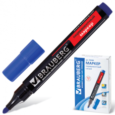 Маркер перм. круглый 3 мм синий Brauberg 150466