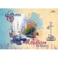 Альбом для акварели спираль А3 24л 180гр Апплика ПАРИЖ С3216-01 карт.обложка лак