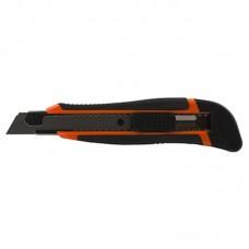 Нож канцелярский большой 18мм мет/держатель резин/вставки (+2лезвия) Lamark CK0205