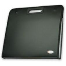 Портфель пластик А4 13отделений Вырубные ручки на кнопках Черный с окантовкой DC0008-BK