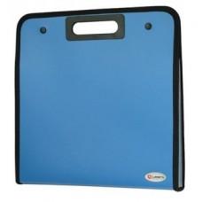 Портфель пластик А4 13отделений Вырубные ручки на кнопках Синий с окантовкой DC0008-BL