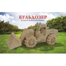 Конструктор деревянный 3D Бульдозер СМ-1006-А4