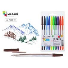 Набор ручек 10цв. Mazari City масляные 0,8мм прозрачный корпус M-7361-10