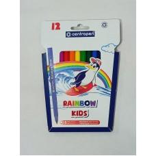 Фломастеры 12цв. Centropen Rainbow kids трехгранные, вентилируемые 7550/12 (Чехия)