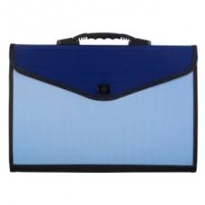 Портфель пластик А4 13отделений на замке синий/голубой Lamark DC0017-BL