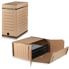 Короб архивный картон 150мм без завязок бурый (до 1400л) Brauberg 124849