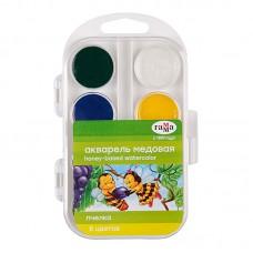 Краски акварель 08цв. Гамма медовая Пчелка 212068 пластик.упаковка без кисти (черный,синий,зеленый,темно-зеленый,желтый,красный,алый,коричневый)