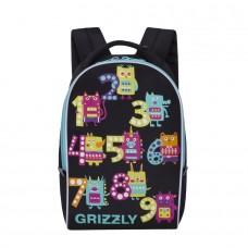 Акция!Рюкзак школьный 10л Grizzly женский ЦИФРЫ-1 черный 25*33*13см RS-764-6