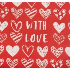 Бумага упаковочная 50*70см крафт With love фон красный 4580540