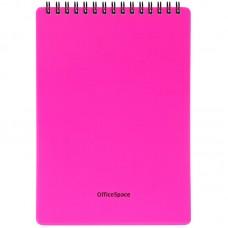 Блокнот А5 60л спираль Офис-спейс Neon розовый, обложка пластик Б5к60грП_35403