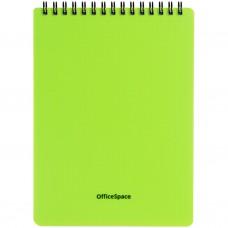 Блокнот А5 60л спираль Офис-спейс Neon салатовый, обложка пластик Б5к60грП_35401