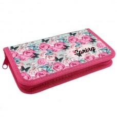 Пенал на 1 молнии 19*11 см Весна винтаж (розы и бабочки) ламинат ПКК 03- 5 Оникс 59674