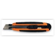 Нож канцелярский большой 18мм мет/держатель резин/вставки (+2лезвия) Lamark CK0204