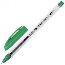 Ручка шар. Brauberg Rite-oil зеленая 0,7мм 142149 масляная, прозрачный корпус