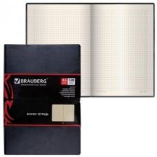 Записная книжка А5 128л кож/зам Brauberg Black jack черная резинка-фиксатор 125240