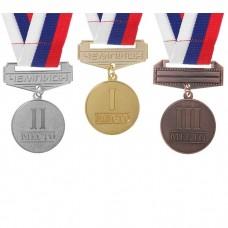 Медаль металл на ленте 3 место! 3,5 см, триколор 3692625