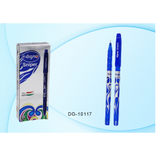 Ручка шар. Digno Sniper синяя 0,7мм DG-10117 игольчатая, масляная, синий корпус с серебр.рисунком