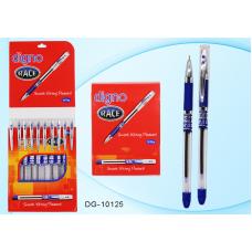 Ручка шар. Digno Race синяя 0,7мм DG-10125 игольчатая, масляная, прозрачный корпус с рез.держателем
